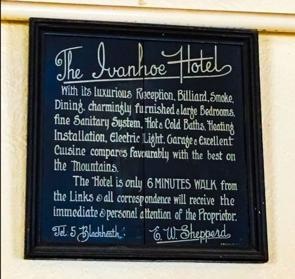 Ivanhoe hotel sign at Blackheath