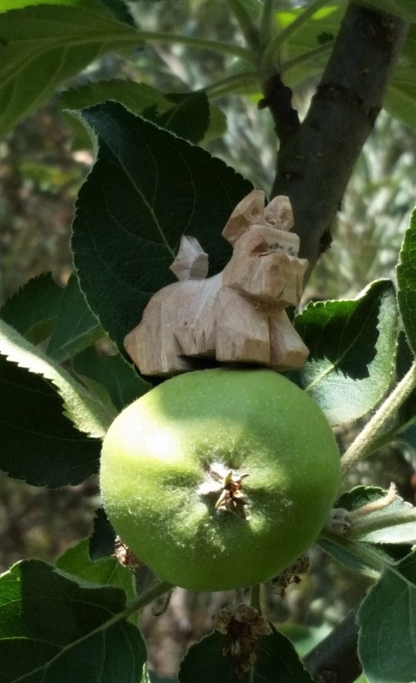 Scotty dog carved from the wood of the original apple tree, sitting on the fruitof thedescendant.