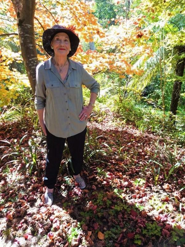 Pauline Conolly in the autumn garden