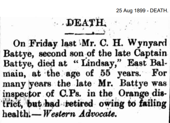 Death notice of Mr C.H. Battye.