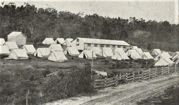 Soldiers' quarantine station on Bruny Island during the flu epidemic.