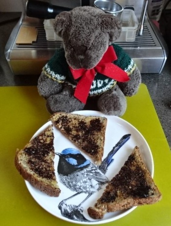 Editor Des  loves his toast and vegemite.