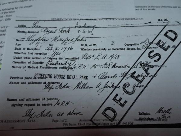 Winnie's original file, stamped DECEASED