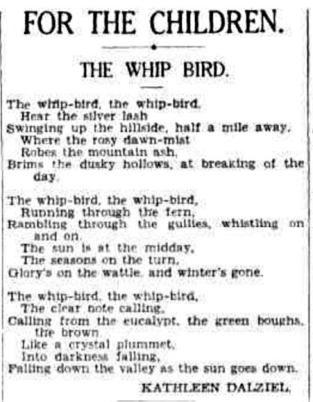 A poem about the Whipbird.