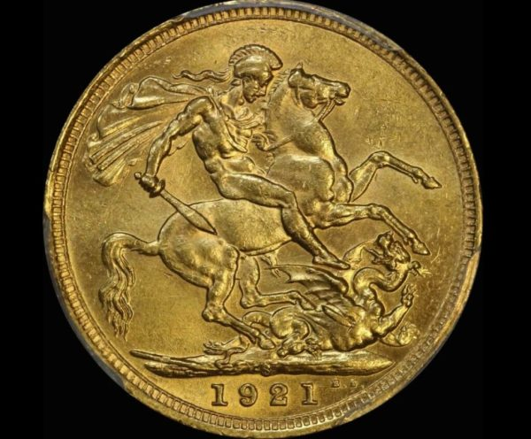 A  1921 gold sovereign, there were 15 boxes of them on the Sonoma.