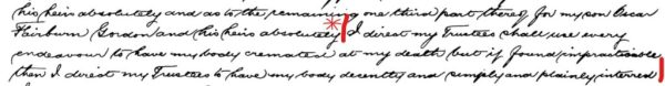 Extract of will of Harry Gordon requesting cremation.