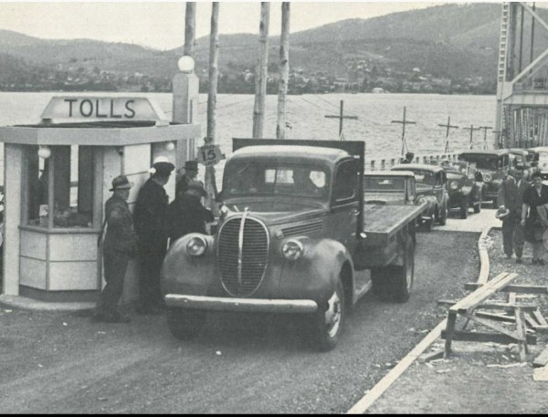 Paying the toll on the floating bridge.
