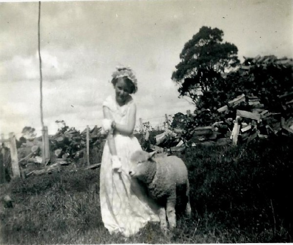 Lorraine with a pet lamb.