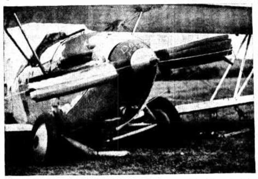 The damaged plane at Swansea aerodrome.
