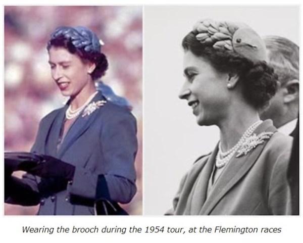 Queen Elizabeth wearing the wattle brooch at the Flemington races in Melbourne.