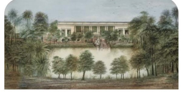 Painting by C.W Coard, who engraved the early stamps of Van Diemen's Land.