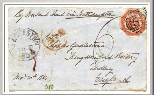 Letter with  Van Diemen's Land unperforated  Stamps.