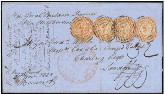Four penny  unperforated stamps of Van Diemen's Land..