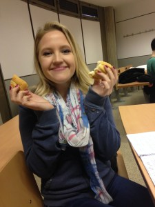 Yes, I'm holding bread. Yes, I am that happy.
