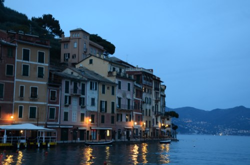 The town of Portofino by night