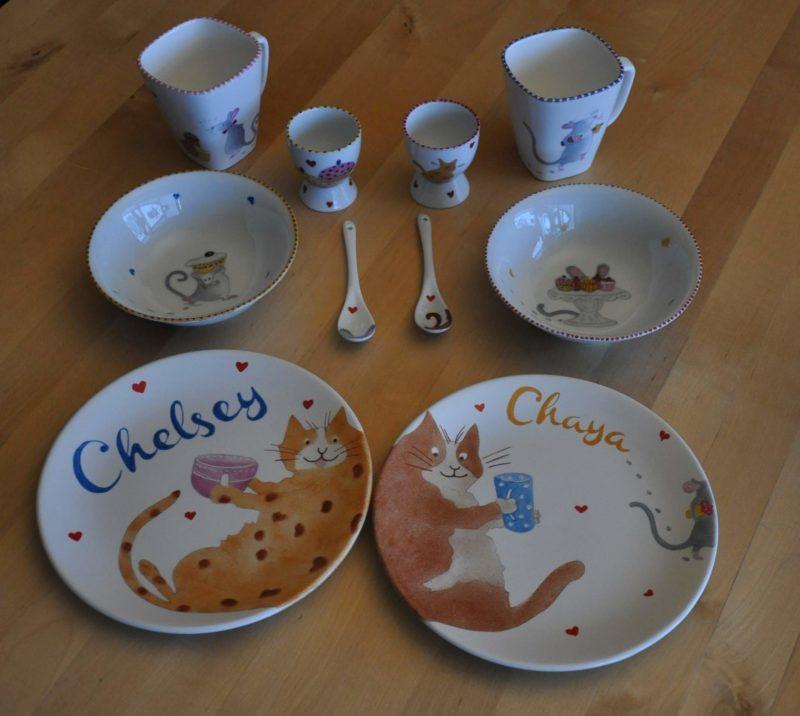 handbeschilderd servies voor chelsey en chaya