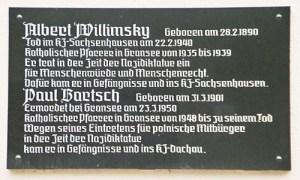 Gedenktafel für Albert Willimsky und Paul Bartsch in Gransee