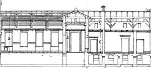Längsschnitt durch den mittleren Teil des Bahnhofs. Im Dachgeschoss links, über dem Wartesaal für die dritte und vierte Klasse, ist ein hölzernes Deckengewölbe zu erkennen, das noch heute hinter einer Zwischendecke existiert (s. auch Foto unten).