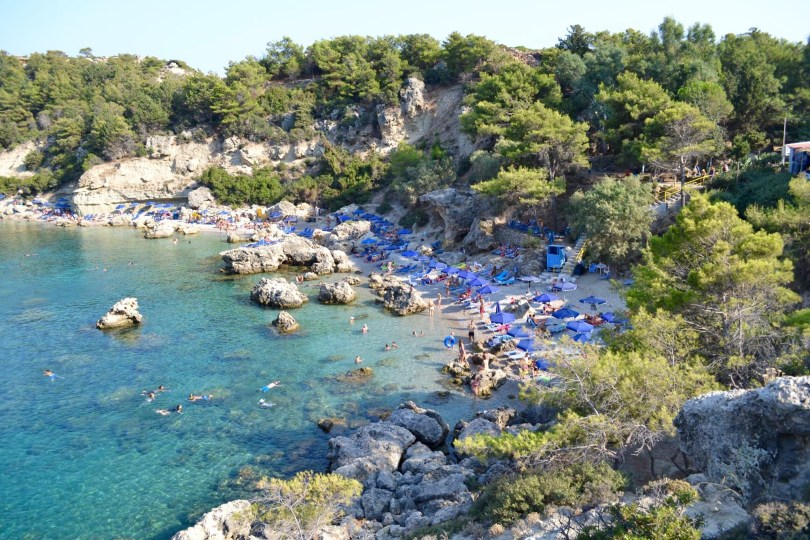 Things to do in Rhodes . The beautiful Anthony Quinn bay