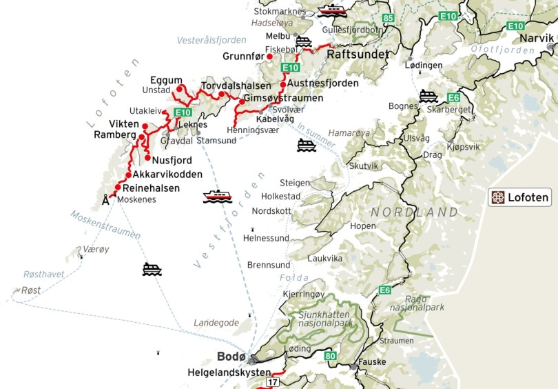 Road Map of Lofoten in Northern Norway