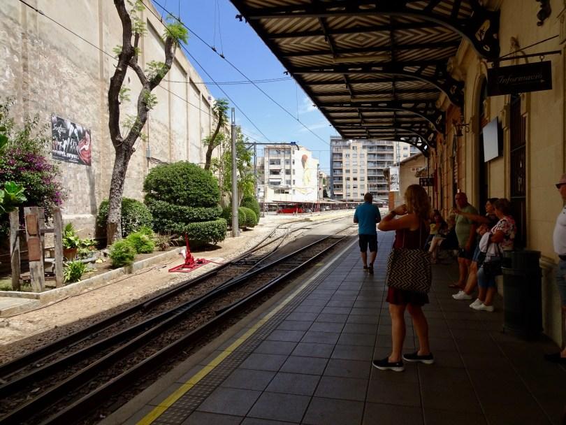 Train Station of Sóller next to Plaza Espana in Palma de Mallorca, Spain.