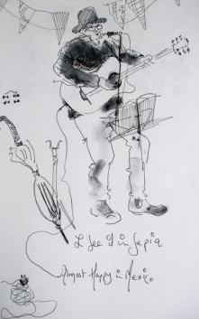 Pauline Williams, artist, announces her attendance at Wychwood festival with a drawing of an old guitarist wearing a hat.