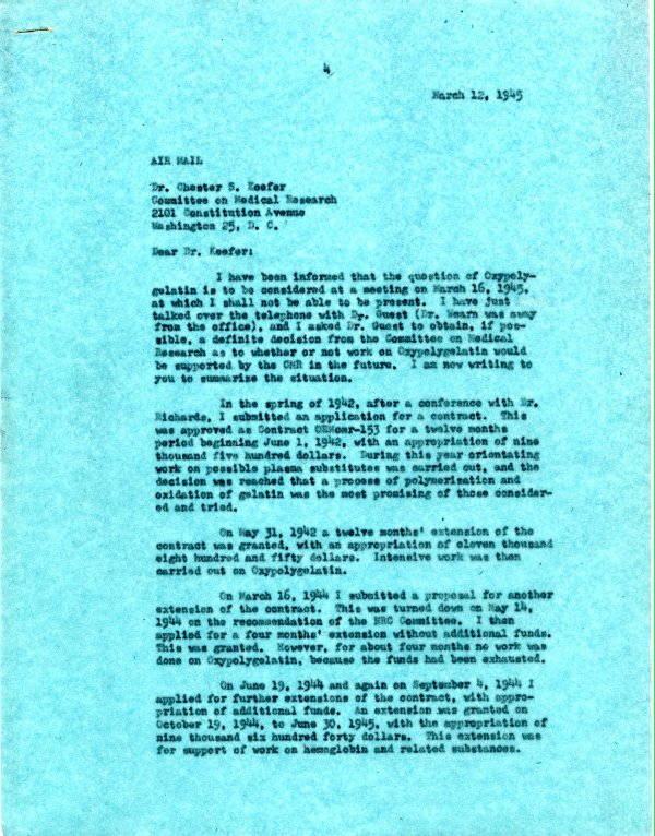 Letter from Linus Pauling to Chester Keefer, March 12, 1945. Page 1.
