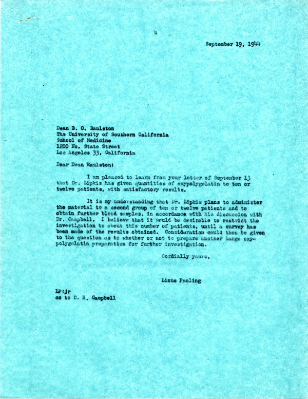 Letter from Linus Pauling to B. O. Raulston, September 19, 1944.