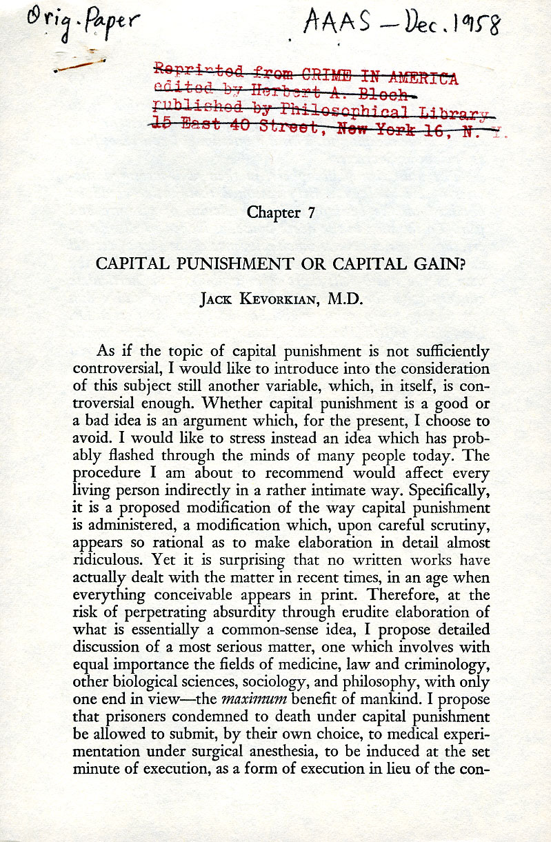 Pro Death Penalty Essay Kevorkian Pauling And A Twist On Capital