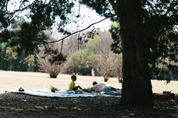 A little boy sides beside his sleeping Dad on a picnic blanket