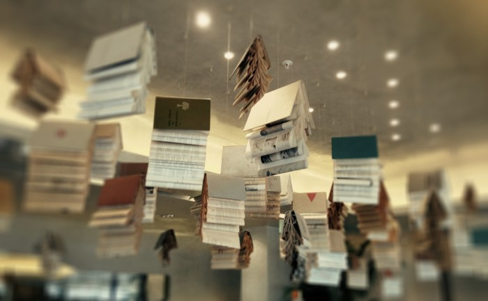 Hanging books at tashas in Rosebank, Johannesburg, South Africa
