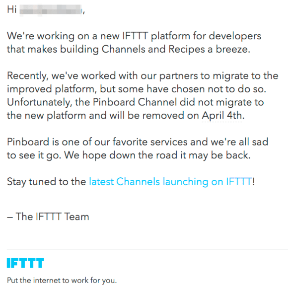 IFTTT v Pinboard