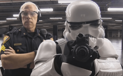 The Fort Worth Police Department trying to teach a Stormtrooper to hit a target