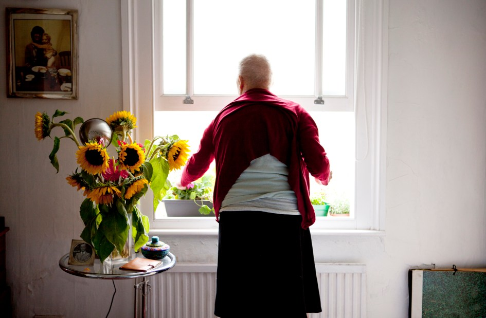 Marchbank's mother tending her garden