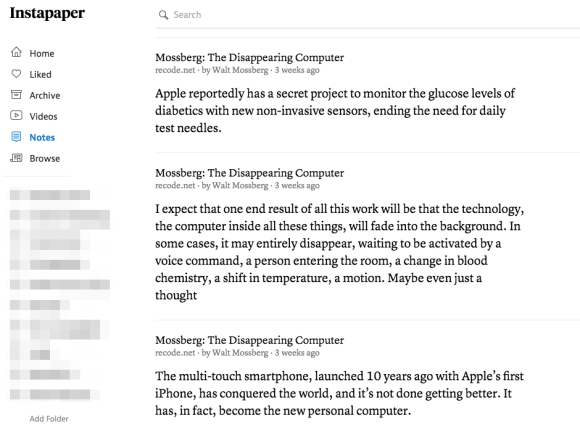 Instapaper notes