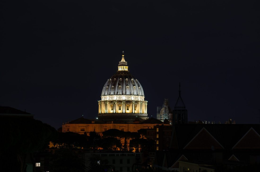 St Peter's Basilica lit up at night