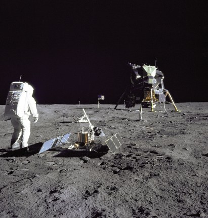 Aldrin Looks Back at Tranquility Base during the Apollo 11 mission