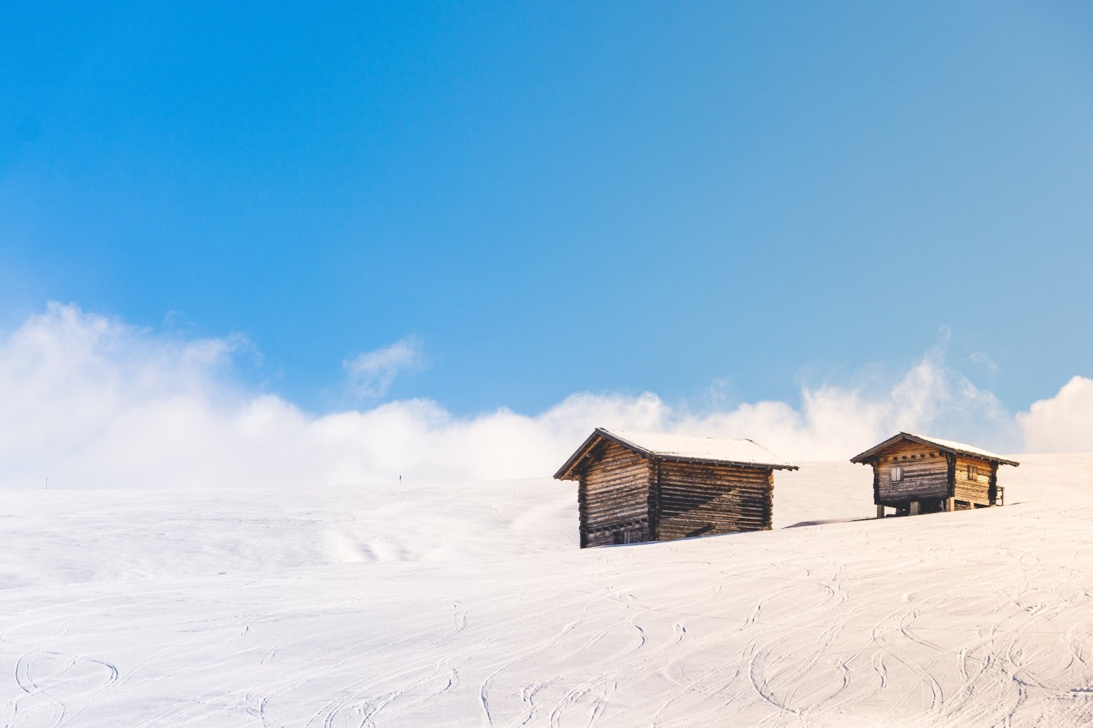 Cabins on a snowy hill