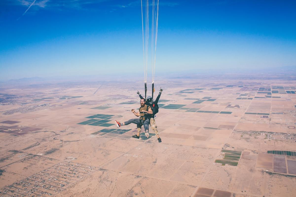 Two men parachuting