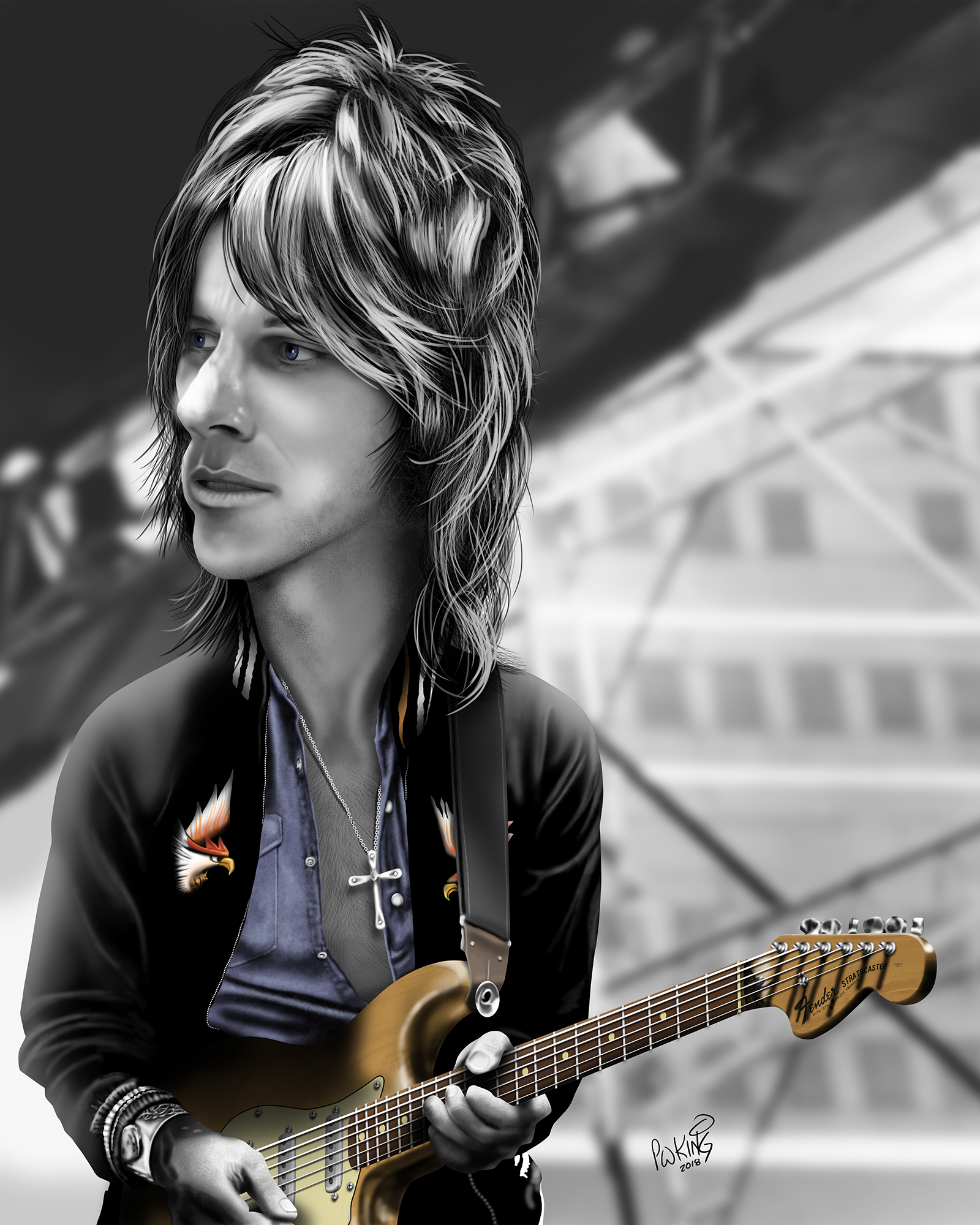 hight resolution of jeff beck caricature
