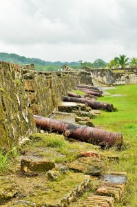 Ruins of the Spanish fortifications in Portobelo, Panama