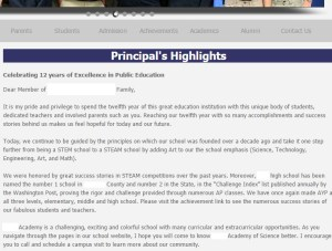 "Actual ""Principal's message"" from current school website....written at least three years ago"