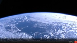 View from ISS as it flies over the Bering Strait area