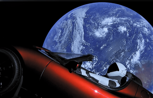Taken from live feed of Tesla Roadster in orbit