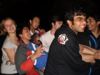 Jonathan gets carried down. Notice everyone is smiling except him