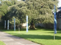 The lawn was redecorated with banners for the open day