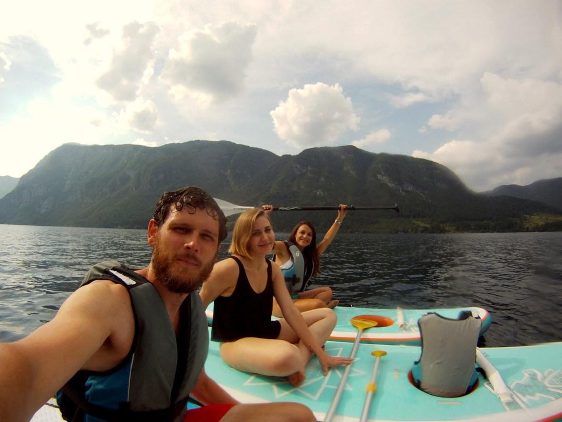 Pia, Anne and Paul on Lake Bohinj, Slovenia