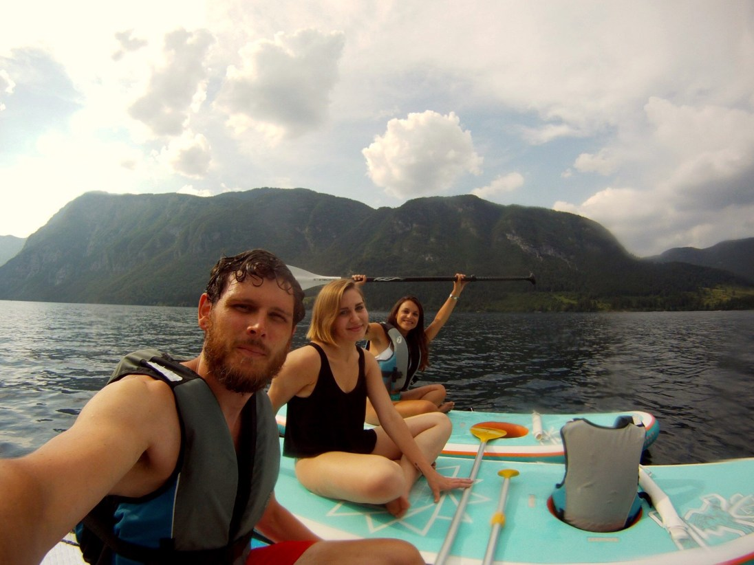 Pia, Anne and Paul on Lake Bohinj, Slovenia