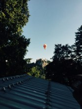 Hot air balloons over Bled castel