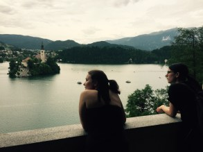 Anja and Polona, view form Old building in the grounds of Josip Tito's home, Bled